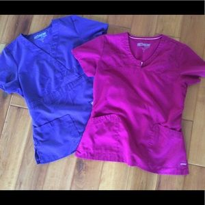 2 Greys Anatomy scrub shirts size M